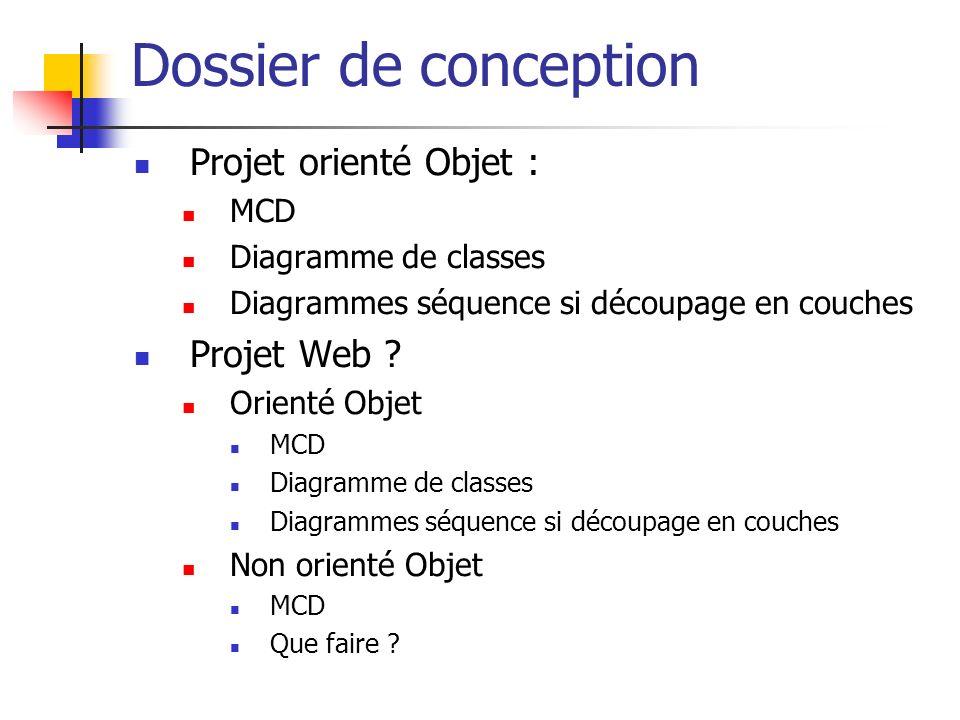 Dossier de conception Projet orienté Objet : MCD Diagramme de classes Diagrammes séquence si découpage en couches Projet Web ? Orienté Objet MCD Diagr