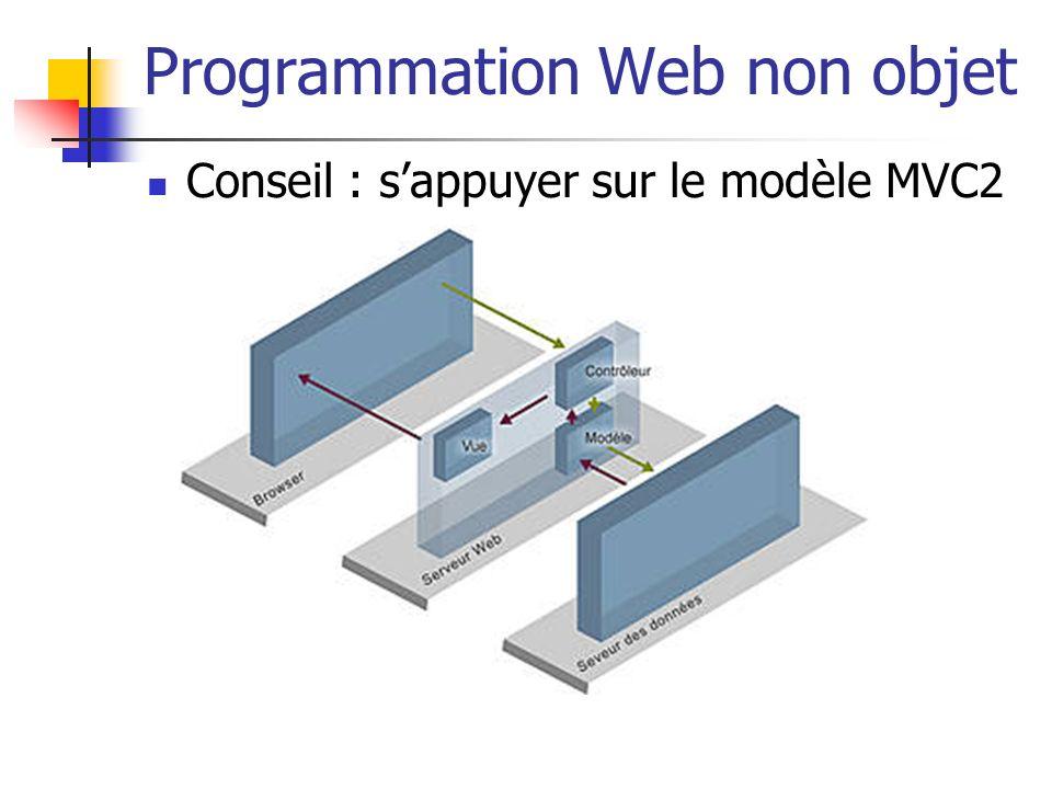 Programmation Web non objet Conseil : sappuyer sur le modèle MVC2