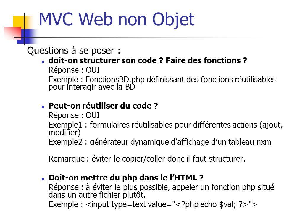 MVC Web non Objet Questions à se poser : doit-on structurer son code ? Faire des fonctions ? Réponse : OUI Exemple : FonctionsBD.php définissant des f