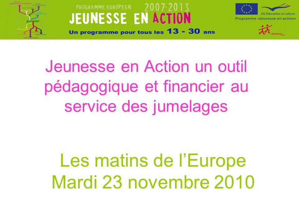 Jeunesse en Action un outil pédagogique et financier au service des jumelages Les matins de lEurope Mardi 23 novembre 2010