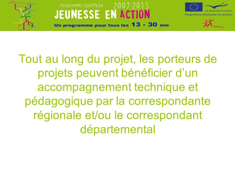 Tout au long du projet, les porteurs de projets peuvent bénéficier dun accompagnement technique et pédagogique par la correspondante régionale et/ou le correspondant départemental