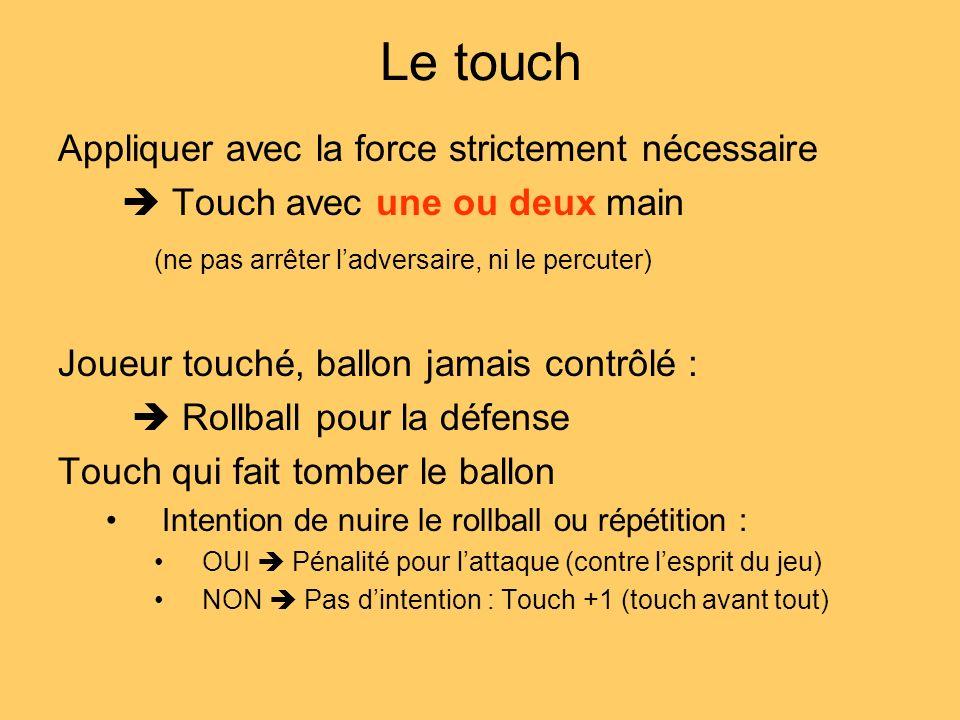 Le touch Appliquer avec la force strictement nécessaire Touch avec une ou deux main (ne pas arrêter ladversaire, ni le percuter) Joueur touché, ballon