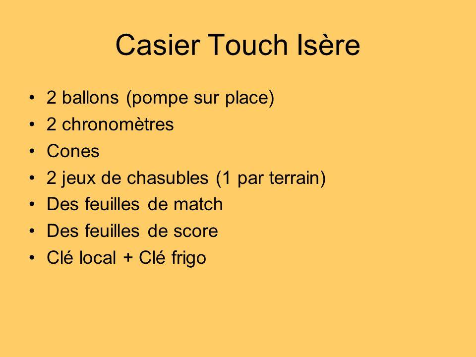 Casier Touch Isère 2 ballons (pompe sur place) 2 chronomètres Cones 2 jeux de chasubles (1 par terrain) Des feuilles de match Des feuilles de score Cl