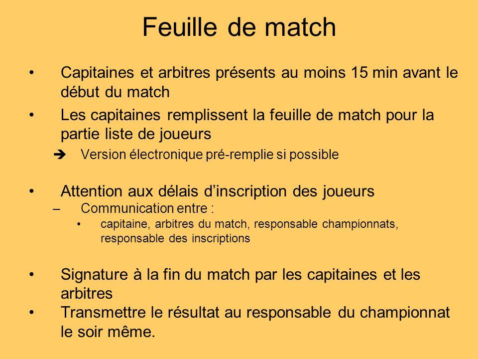 Feuille de match Capitaines et arbitres présents au moins 15 min avant le début du match Les capitaines remplissent la feuille de match pour la partie