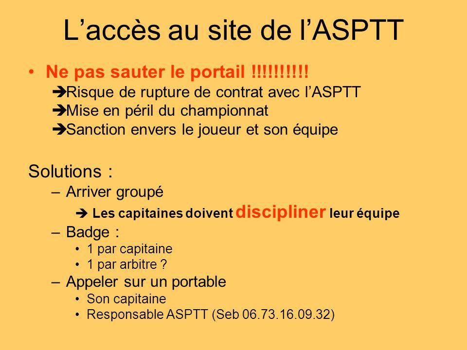 Laccès au site de lASPTT Ne pas sauter le portail !!!!!!!!!! Risque de rupture de contrat avec lASPTT Mise en péril du championnat Sanction envers le