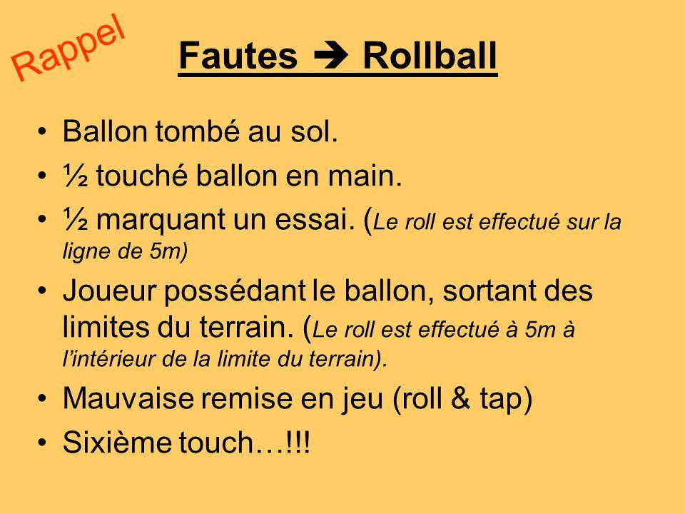 Fautes Rollball Ballon tombé au sol. ½ touché ballon en main. ½ marquant un essai. ( Le roll est effectué sur la ligne de 5m) Joueur possédant le ball