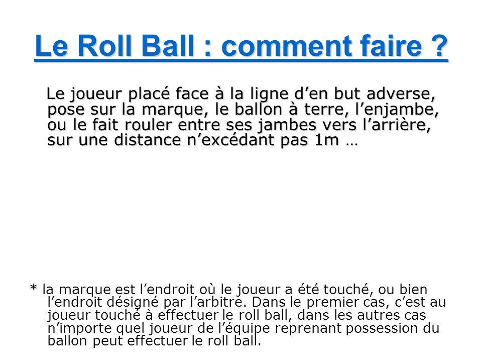 Le Roll Ball : comment faire ? Le joueur placé face à la ligne den but adverse, pose sur la marque, le ballon à terre, lenjambe, ou le fait rouler ent