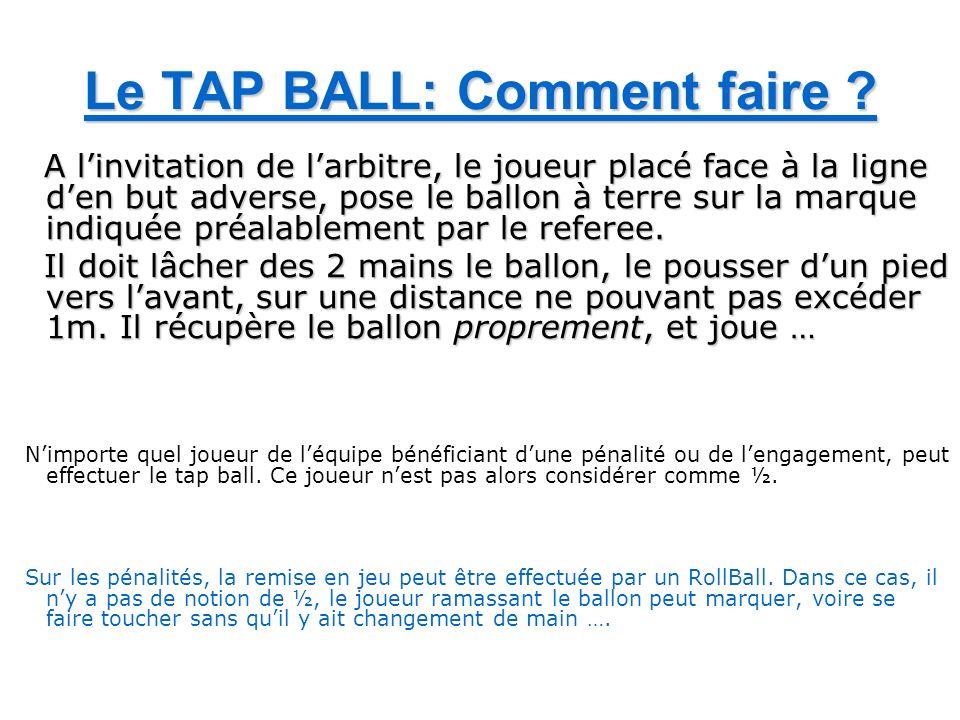 Le TAP BALL: Comment faire ? A linvitation de larbitre, le joueur placé face à la ligne den but adverse, pose le ballon à terre sur la marque indiquée