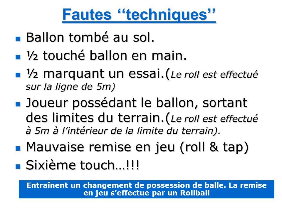Fautes techniques Ballon tombé au sol. Ballon tombé au sol. ½ touché ballon en main. ½ touché ballon en main. ½ marquant un essai.( Le roll est effect