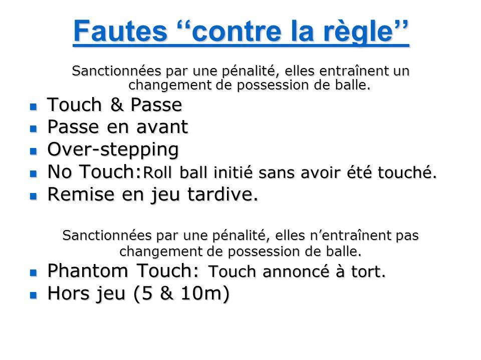 Fautes contre la règle Sanctionnées par une pénalité, elles entraînent un changement de possession de balle. Touch & Passe Touch & Passe Passe en avan