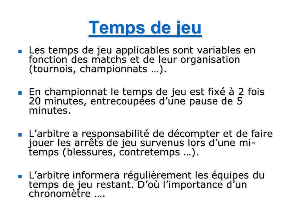 Temps de jeu Les temps de jeu applicables sont variables en fonction des matchs et de leur organisation (tournois, championnats …). Les temps de jeu a