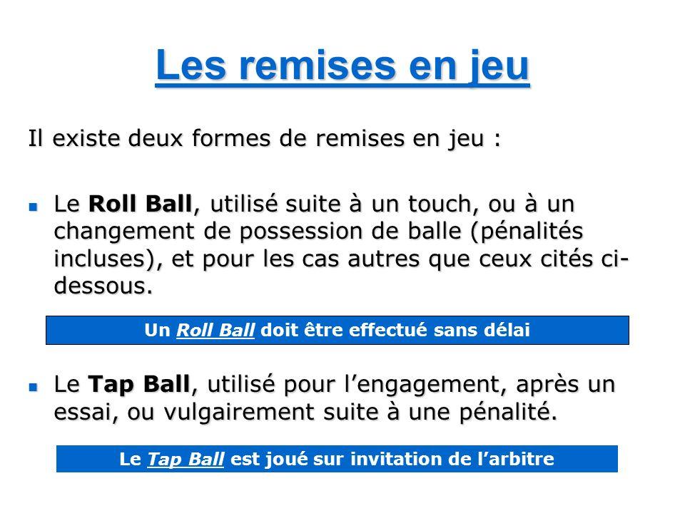 Les remises en jeu Il existe deux formes de remises en jeu : Le Roll Ball, utilisé suite à un touch, ou à un changement de possession de balle (pénalités incluses), et pour les cas autres que ceux cités ci- dessous.