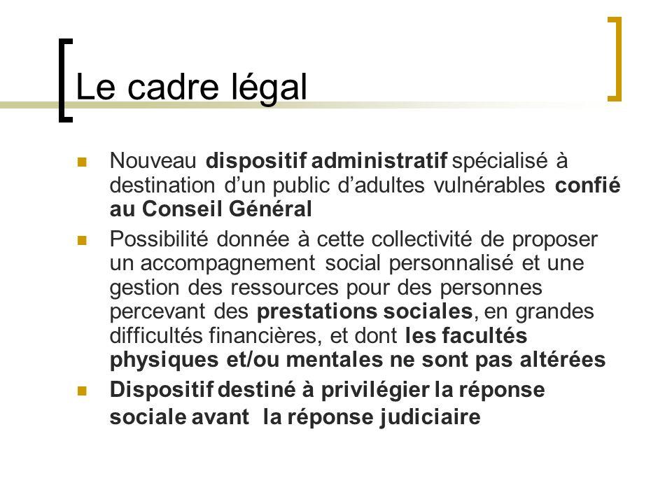 Le cadre légal Nouveau dispositif administratif spécialisé à destination dun public dadultes vulnérables confié au Conseil Général Possibilité donnée