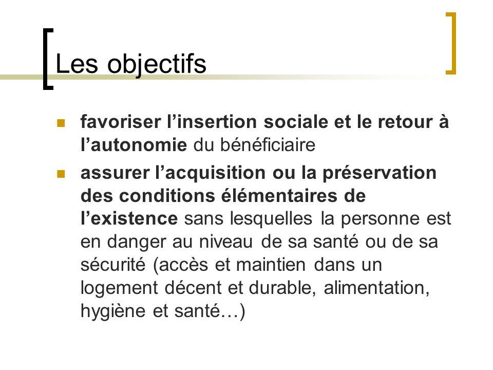 Les objectifs favoriser linsertion sociale et le retour à lautonomie du bénéficiaire assurer lacquisition ou la préservation des conditions élémentair