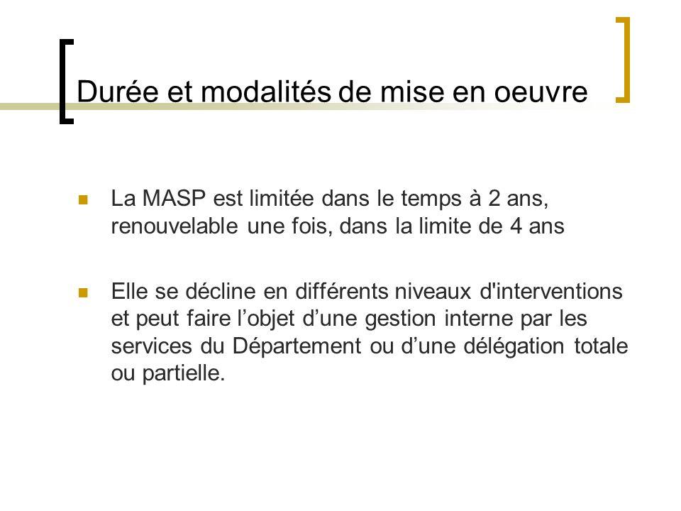 Durée et modalités de mise en oeuvre La MASP est limitée dans le temps à 2 ans, renouvelable une fois, dans la limite de 4 ans Elle se décline en diff