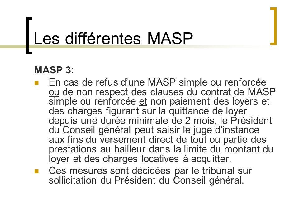 Les différentes MASP MASP 3: En cas de refus dune MASP simple ou renforcée ou de non respect des clauses du contrat de MASP simple ou renforcée et non