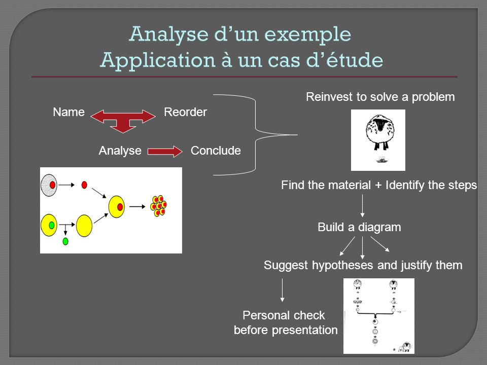 Analyse dun exemple Application à un cas détude NameReorder AnalyseConclude Reinvest to solve a problem Build a diagram Find the material + Identify t