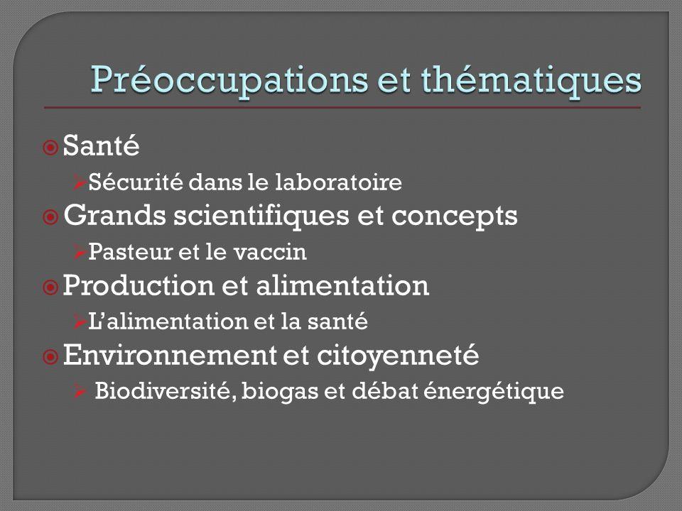 Santé Sécurité dans le laboratoire Grands scientifiques et concepts Pasteur et le vaccin Production et alimentation Lalimentation et la santé Environnement et citoyenneté Biodiversité, biogas et débat énergétique