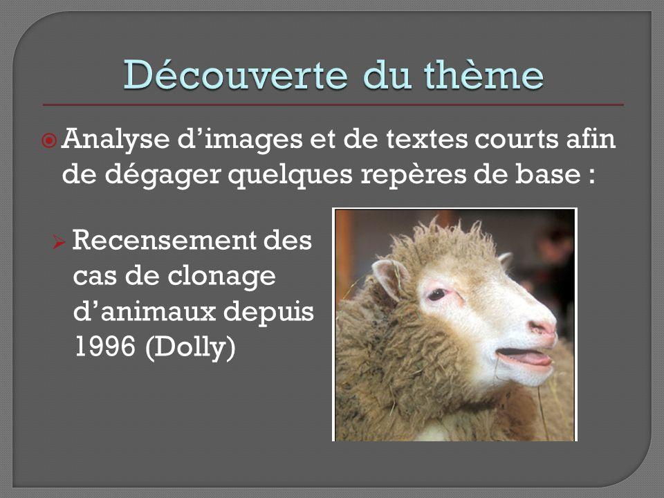 Analyse dimages et de textes courts afin de dégager quelques repères de base : Recensement des cas de clonage danimaux depuis 1996 (Dolly)
