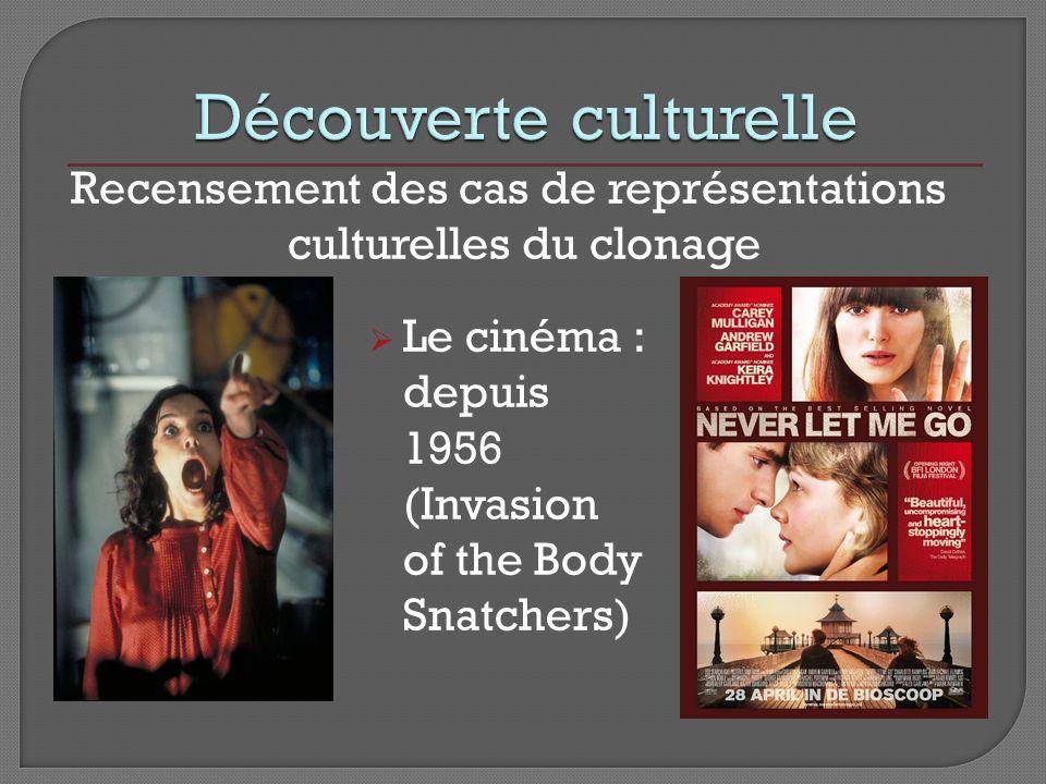 Recensement des cas de représentations culturelles du clonage Le cinéma : depuis 1956 (Invasion of the Body Snatchers)