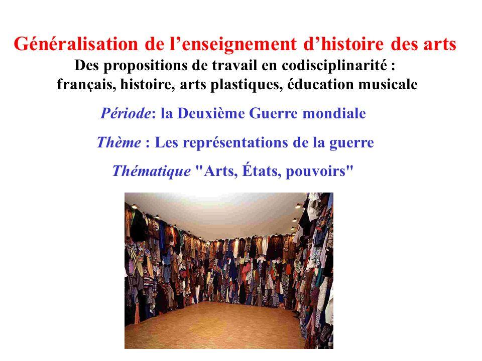 Généralisation de lenseignement dhistoire des arts Des propositions de travail en codisciplinarité : français, histoire, arts plastiques, éducation mu