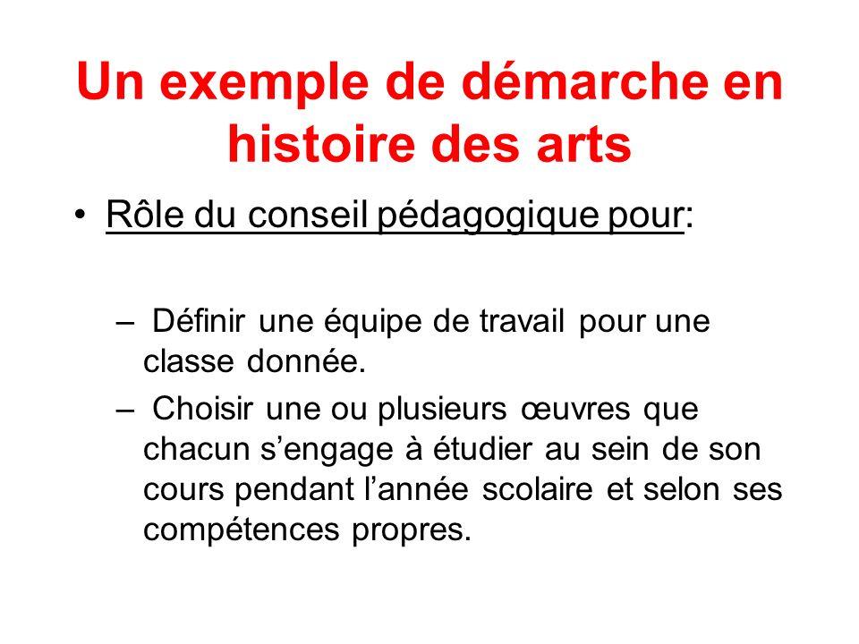 Un exemple de démarche en histoire des arts Rôle du conseil pédagogique pour: – Définir une équipe de travail pour une classe donnée. – Choisir une ou