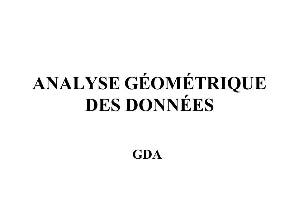 ANALYSE GÉOMÉTRIQUE DES DONNÉES GDA
