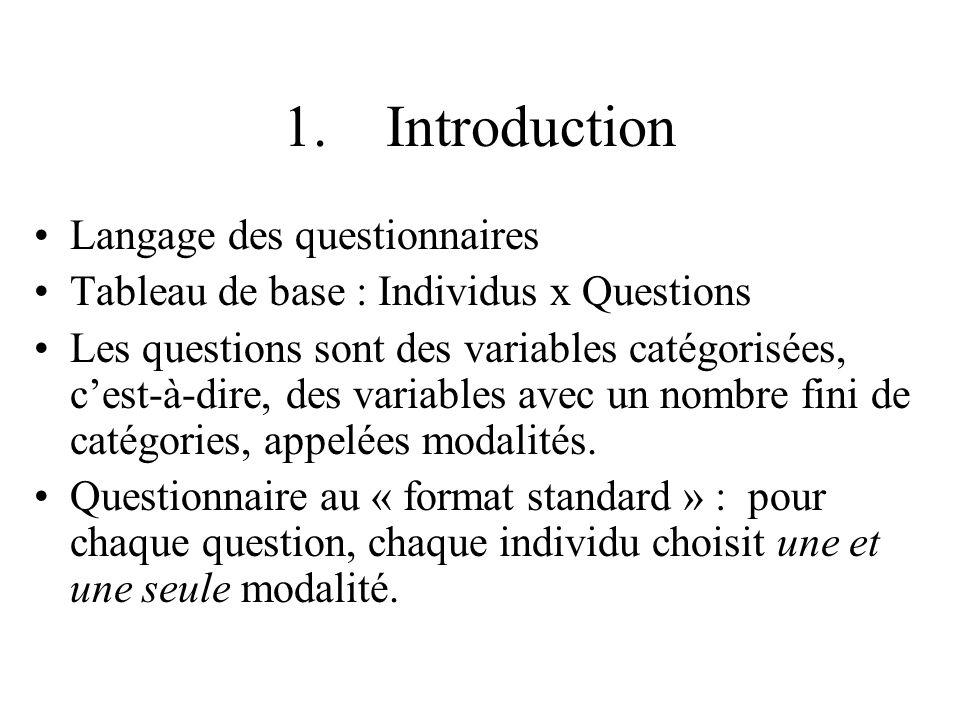 1. Introduction Langage des questionnaires Tableau de base : Individus x Questions Les questions sont des variables catégorisées, cest-à-dire, des var