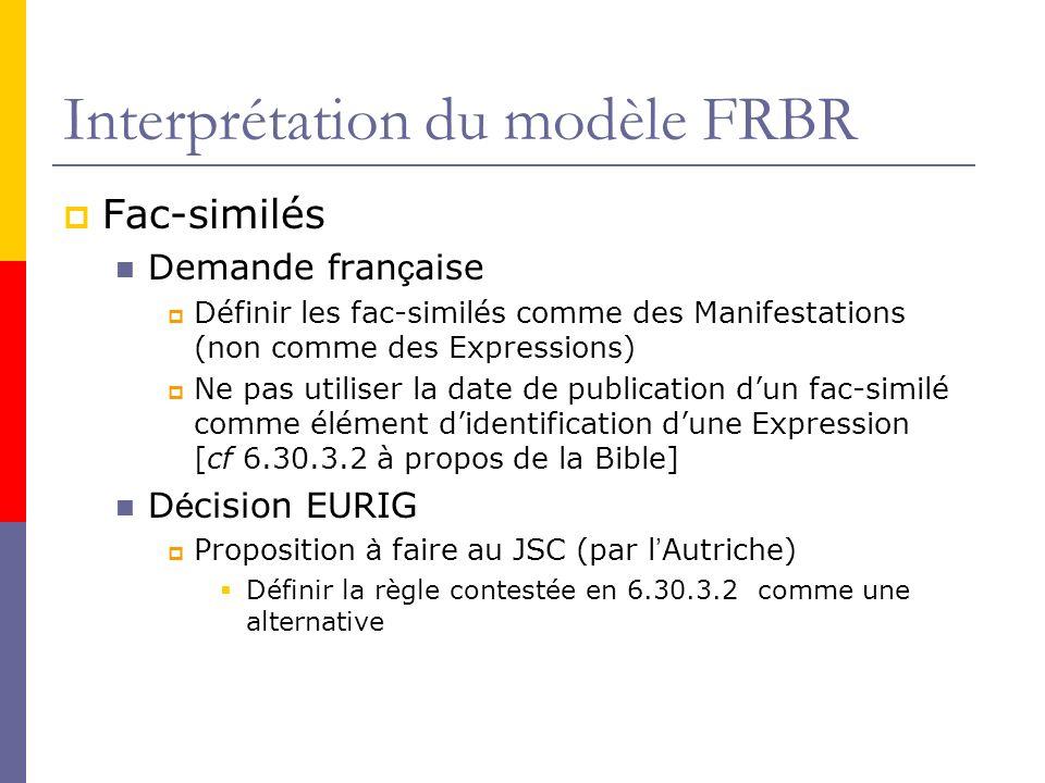 Interprétation du modèle FRBR Fac-similés Demande fran ç aise Définir les fac-similés comme des Manifestations (non comme des Expressions) Ne pas utiliser la date de publication dun fac-similé comme élément didentification dune Expression [cf 6.30.3.2 à propos de la Bible] D é cision EURIG Proposition à faire au JSC (par l Autriche) Définir la règle contestée en 6.30.3.2 comme une alternative