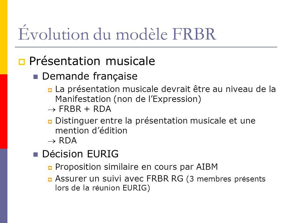 Évolution du modèle FRBR Présentation musicale Demande fran ç aise La présentation musicale devrait être au niveau de la Manifestation (non de lExpression) FRBR + RDA Distinguer entre la présentation musicale et une mention dédition RDA D é cision EURIG Proposition similaire en cours par AIBM Assurer un suivi avec FRBR RG (3 membres pr é sents lors de la r é union EURIG)