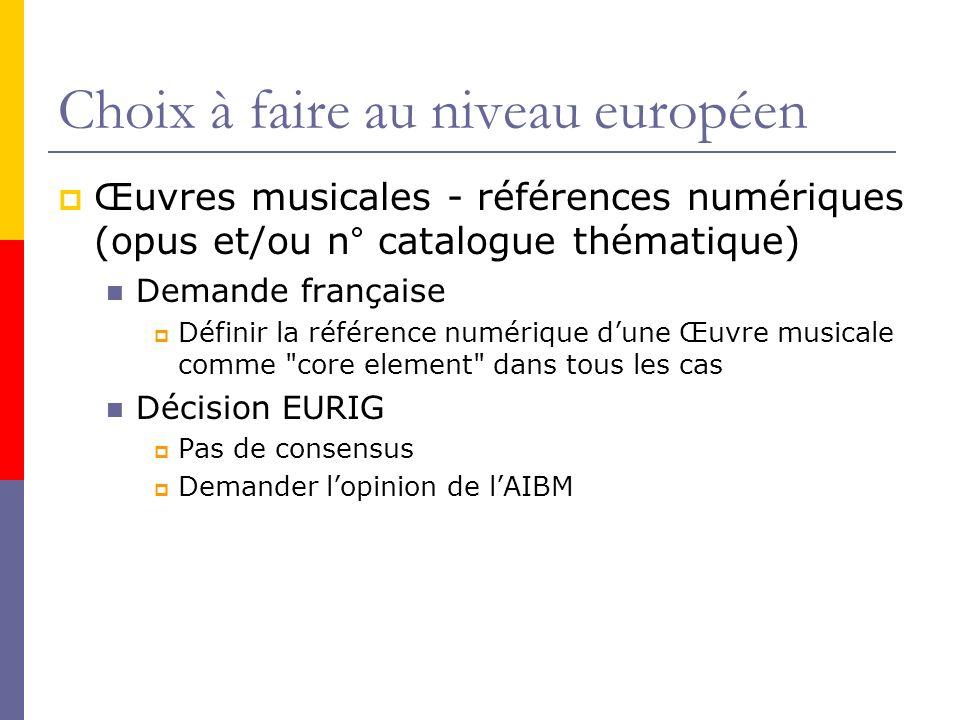 Choix à faire au niveau européen Œuvres musicales - références numériques (opus et/ou n° catalogue thématique) Demande française Définir la référence numérique dune Œuvre musicale comme core element dans tous les cas Décision EURIG Pas de consensus Demander lopinion de lAIBM
