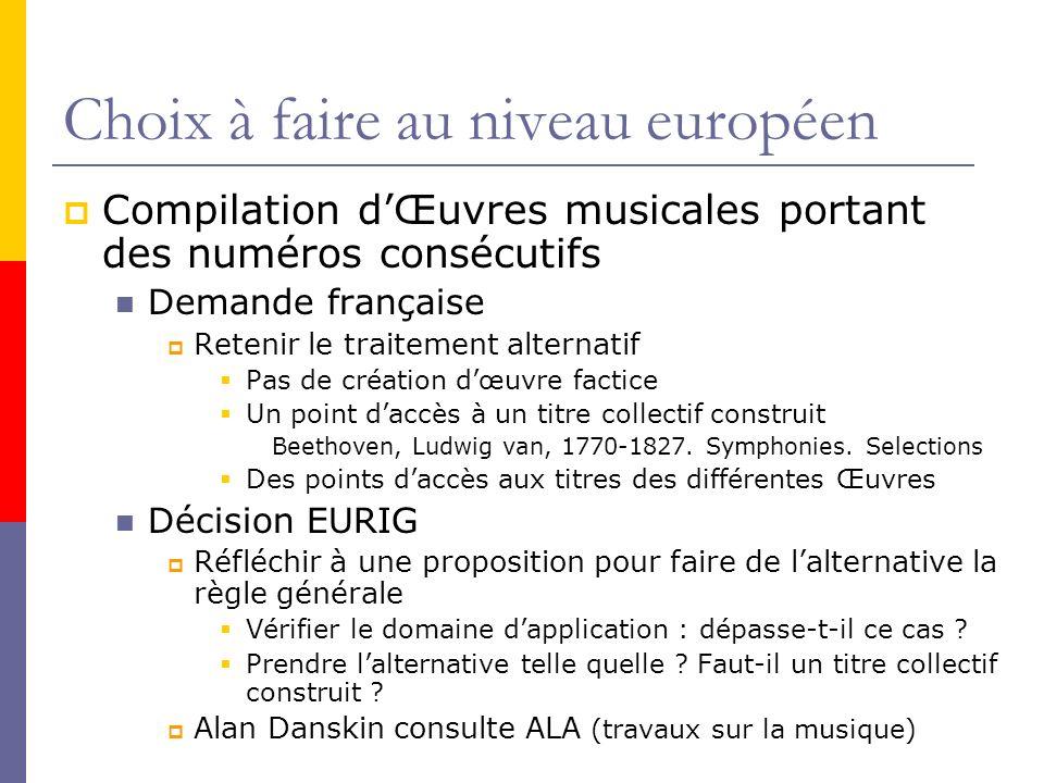 Choix à faire au niveau européen Compilation dŒuvres musicales portant des numéros consécutifs Demande française Retenir le traitement alternatif Pas de création dœuvre factice Un point daccès à un titre collectif construit Beethoven, Ludwig van, 1770-1827.