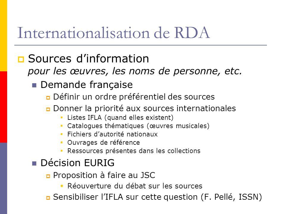 Internationalisation de RDA Sources dinformation pour les œuvres, les noms de personne, etc.