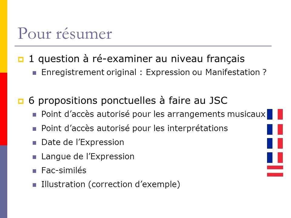 Pour résumer 1 question à ré-examiner au niveau français Enregistrement original : Expression ou Manifestation .