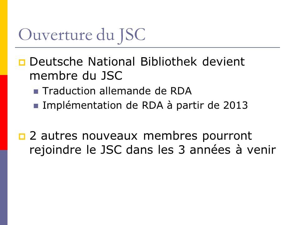 Ouverture du JSC Deutsche National Bibliothek devient membre du JSC Traduction allemande de RDA Implémentation de RDA à partir de 2013 2 autres nouveaux membres pourront rejoindre le JSC dans les 3 années à venir