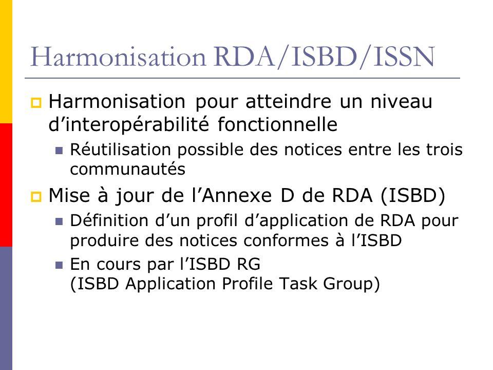 Harmonisation RDA/ISBD/ISSN Harmonisation pour atteindre un niveau dinteropérabilité fonctionnelle Réutilisation possible des notices entre les trois communautés Mise à jour de lAnnexe D de RDA (ISBD) Définition dun profil dapplication de RDA pour produire des notices conformes à lISBD En cours par lISBD RG (ISBD Application Profile Task Group)