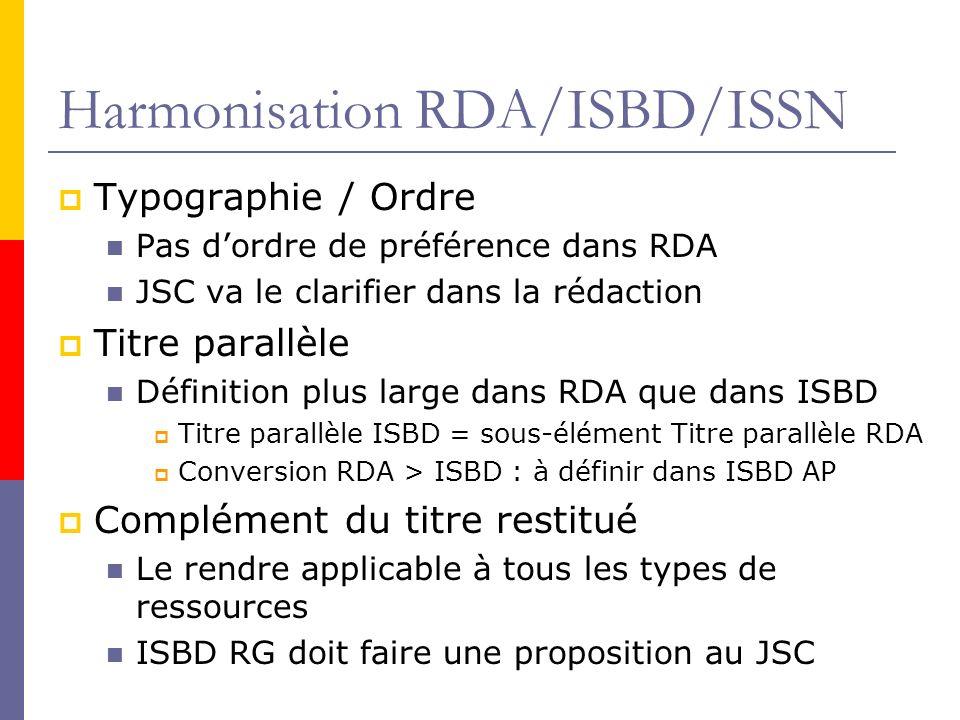 Harmonisation RDA/ISBD/ISSN Typographie / Ordre Pas dordre de préférence dans RDA JSC va le clarifier dans la rédaction Titre parallèle Définition plus large dans RDA que dans ISBD Titre parallèle ISBD = sous-élément Titre parallèle RDA Conversion RDA > ISBD : à définir dans ISBD AP Complément du titre restitué Le rendre applicable à tous les types de ressources ISBD RG doit faire une proposition au JSC