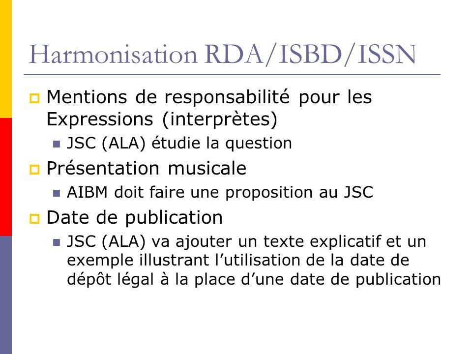 Harmonisation RDA/ISBD/ISSN Mentions de responsabilité pour les Expressions (interprètes) JSC (ALA) étudie la question Présentation musicale AIBM doit faire une proposition au JSC Date de publication JSC (ALA) va ajouter un texte explicatif et un exemple illustrant lutilisation de la date de dépôt légal à la place dune date de publication