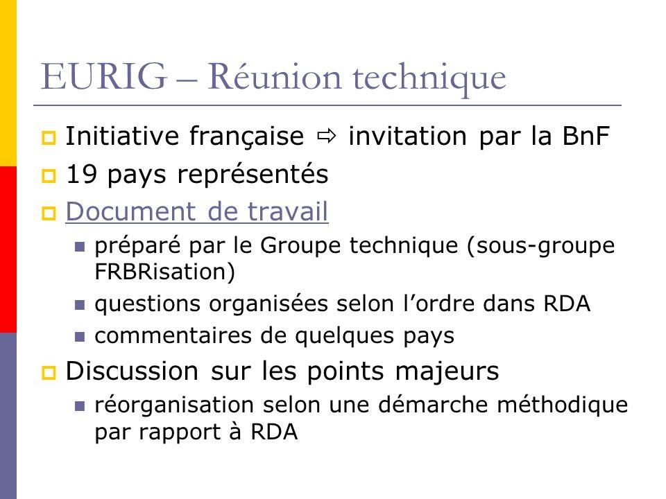 EURIG – Réunion technique Initiative française invitation par la BnF 19 pays représentés Document de travail préparé par le Groupe technique (sous-groupe FRBRisation) questions organisées selon lordre dans RDA commentaires de quelques pays Discussion sur les points majeurs réorganisation selon une démarche méthodique par rapport à RDA