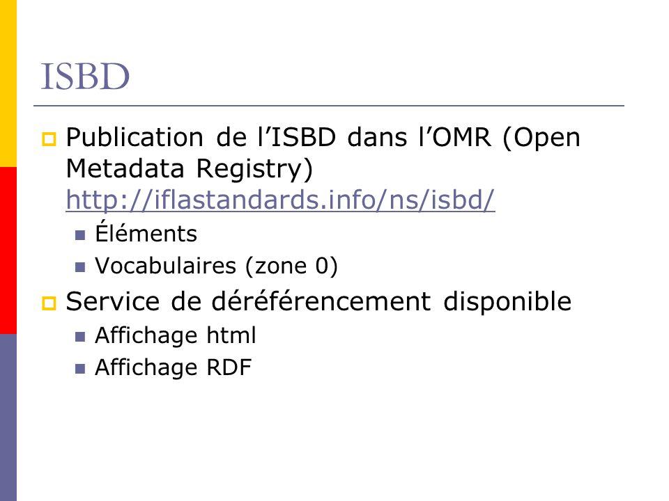 ISBD Publication de lISBD dans lOMR (Open Metadata Registry) http://iflastandards.info/ns/isbd/ http://iflastandards.info/ns/isbd/ Éléments Vocabulaires (zone 0) Service de déréférencement disponible Affichage html Affichage RDF