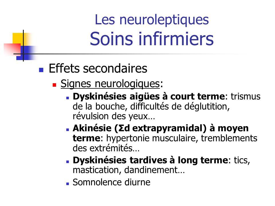 Les neuroleptiques Soins infirmiers Effets secondaires Signes neurologiques: Dyskinésies aigües à court terme: trismus de la bouche, difficultés de dé