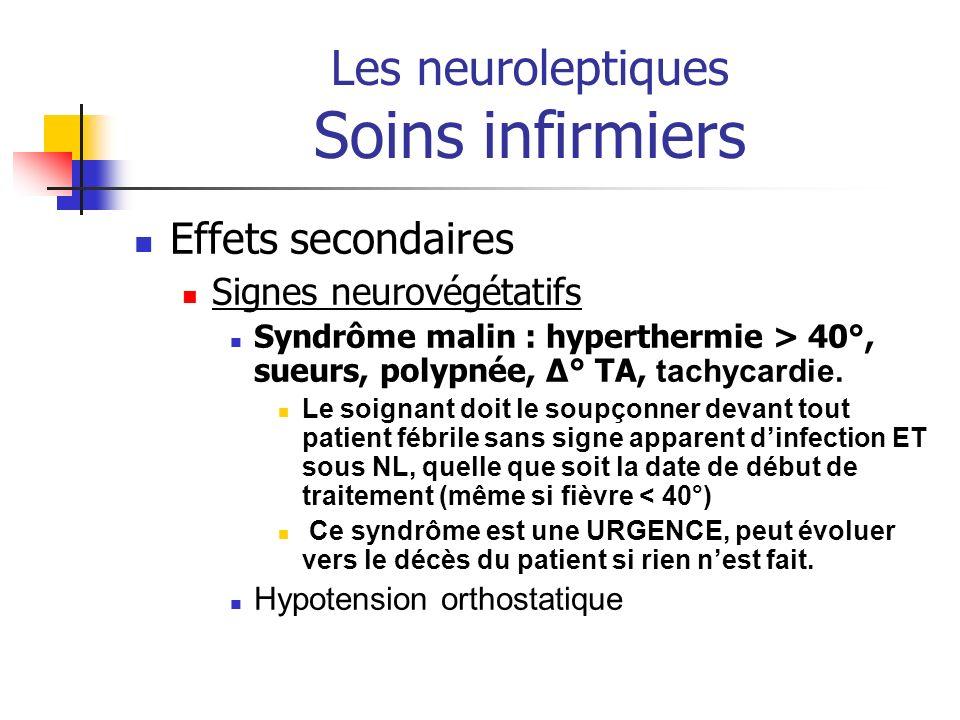 Les neuroleptiques Soins infirmiers Effets secondaires Signes neurovégétatifs Syndrôme malin : hyperthermie > 40°, sueurs, polypnée, Δ° TA, tachycardi