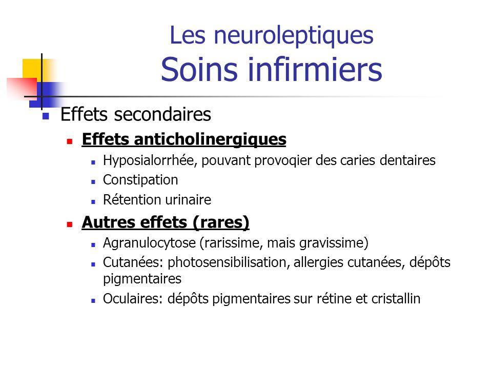 Les neuroleptiques Soins infirmiers Effets secondaires Effets anticholinergiques Hyposialorrhée, pouvant provoqier des caries dentaires Constipation R