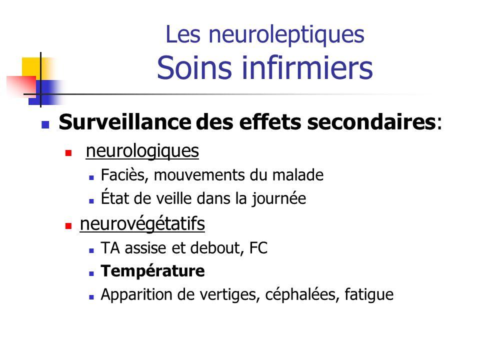 Les neuroleptiques Soins infirmiers Surveillance des effets secondaires: neurologiques Faciès, mouvements du malade État de veille dans la journée neu