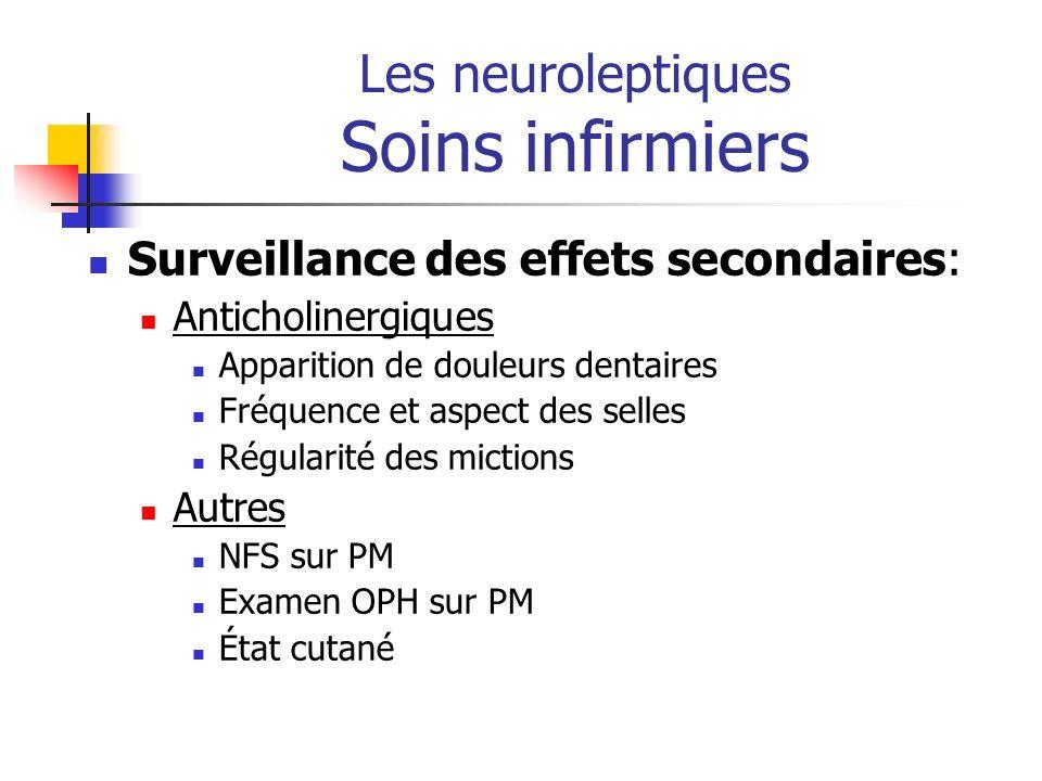 Les neuroleptiques Soins infirmiers Surveillance des effets secondaires: Anticholinergiques Apparition de douleurs dentaires Fréquence et aspect des s