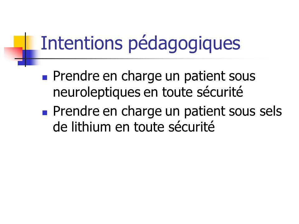 Intentions pédagogiques Prendre en charge un patient sous neuroleptiques en toute sécurité Prendre en charge un patient sous sels de lithium en toute