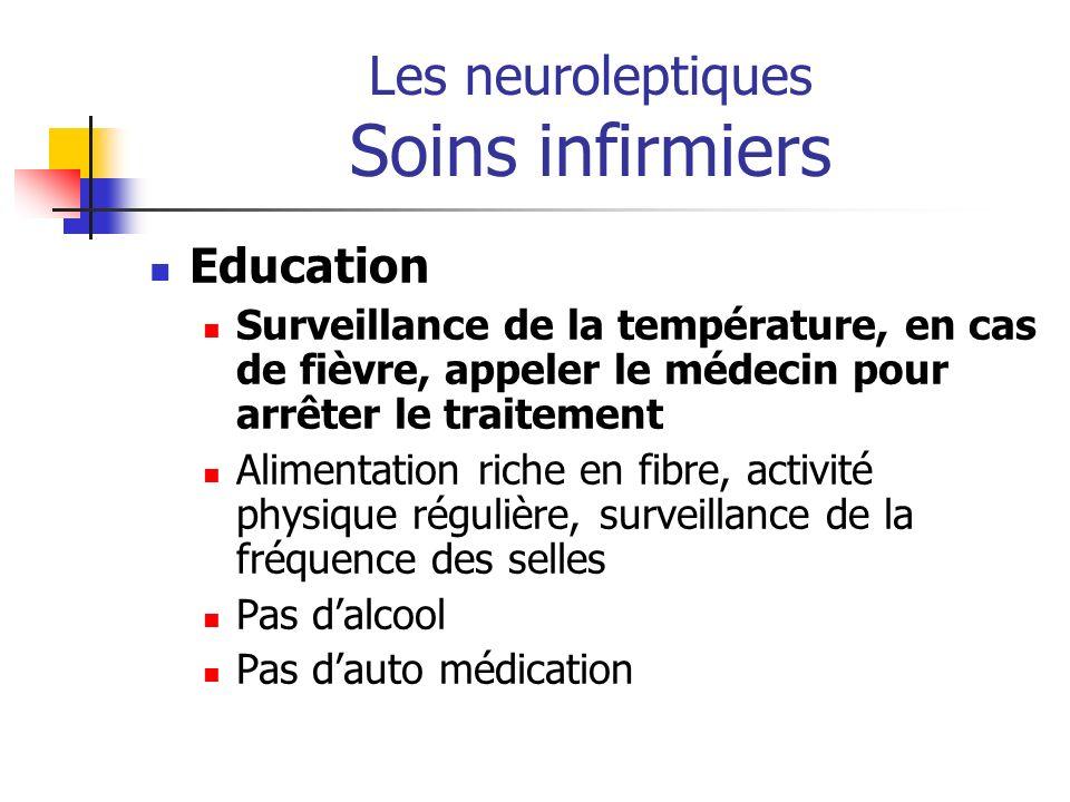 Les neuroleptiques Soins infirmiers Education Surveillance de la température, en cas de fièvre, appeler le médecin pour arrêter le traitement Alimenta