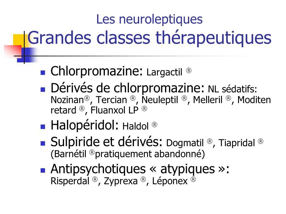 Les neuroleptiques Grandes classes thérapeutiques Chlorpromazine: Largactil ® Dérivés de chlorpromazine: NL sédatifs: Nozinan ®, Tercian ®, Neuleptil