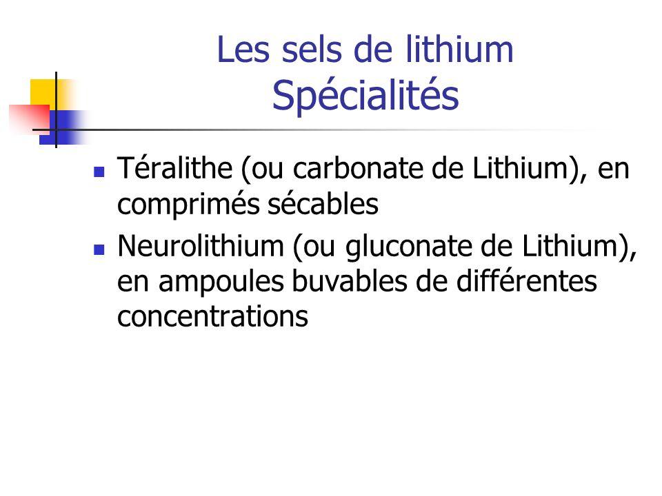 Les sels de lithium Spécialités Téralithe (ou carbonate de Lithium), en comprimés sécables Neurolithium (ou gluconate de Lithium), en ampoules buvable