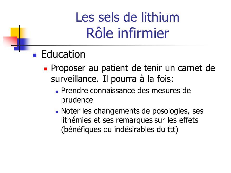 Les sels de lithium Rôle infirmier Education Proposer au patient de tenir un carnet de surveillance. Il pourra à la fois: Prendre connaissance des mes